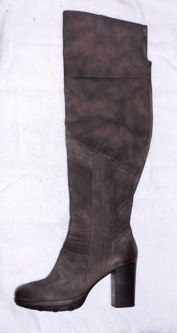 MJUS bottes genouillères zippées cuir daim taupe P 39 = 38 TBE