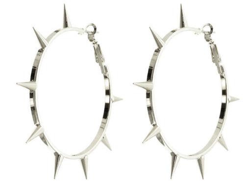 "Gothic Punk Rock Bling Gold Spike Hoop Earrings 2 1//4/"" Hoops"