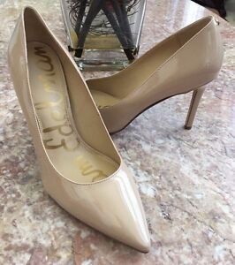 f2911b627e New SAM EDELMAN Hazel Pointed Toe Beige Patent Leather Pump Sz 81/2 ...