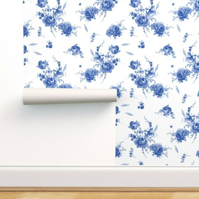Wallpaper Roll Roses Blue And White Floral Flowers Summer Spring 24in x 27ft