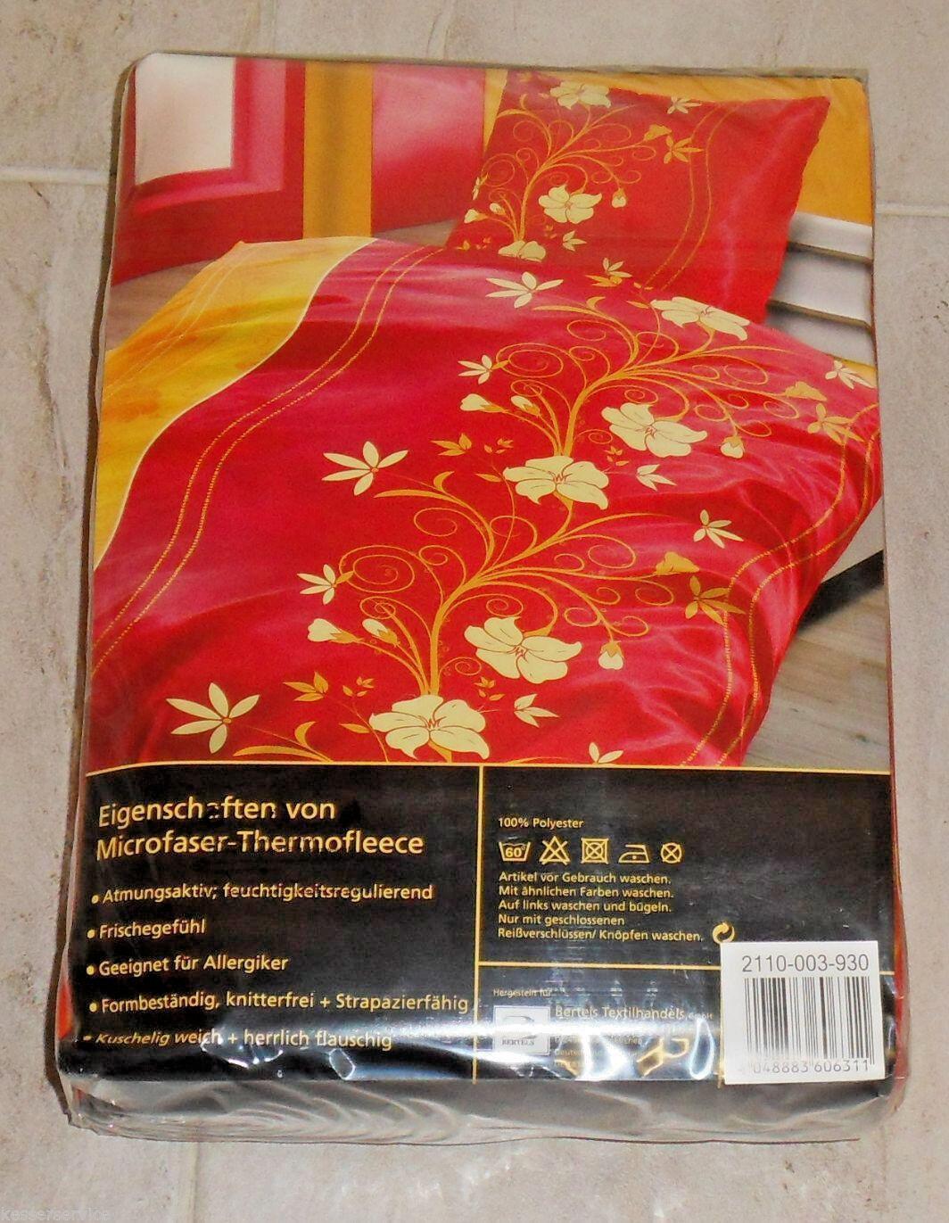 2 tlg. Bettwäsche  Alfons  Thermo Fleece 135 x 200cm Blaumenranke in Gelb auf Rot