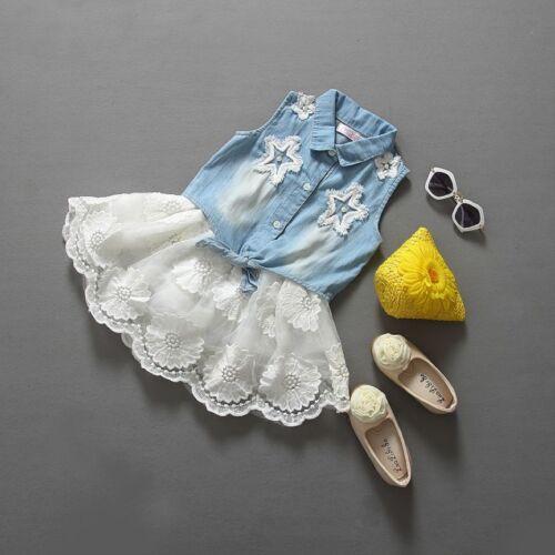 tutu jupe robe costume set Bébé fille été fleur en dentelle vêtements denim gilet