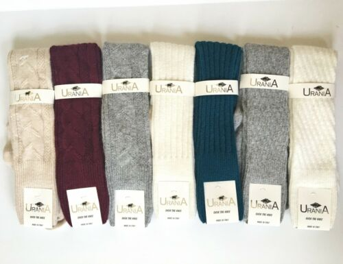 OVER THE KNEE ANGORA WOOL RIBBED// WEAVE// SOFT SOCKS NWT URANIA Made in ITALY