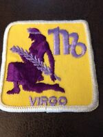 True Vintage Hippie Mod FIower Power Zodiac Sign Virgo Cloth Patch New 1970s