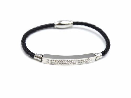 Bracelet Aimanté Cordon Tressé Noir avec Bande Strass et Acier Argenté BC2157E