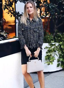 e9725b72 NOWT $129 Zara Women Fringed Jacket with lapel collar Tweed Blazer ...
