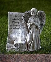 Solar Memorial Lighted Cross Statue Sentiment Angel Garden Outdoor Lawn Yard Art