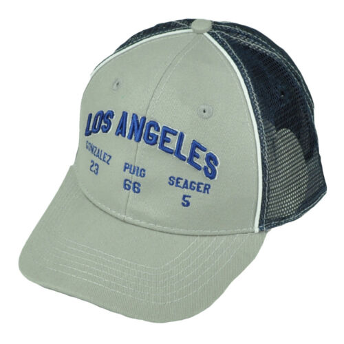 Los Angeles Dodgers Gonzalez 23 Puig 66 Seager 5 Netz Snaback Mütze Grau Blau Fanartikel Baseball & Softball