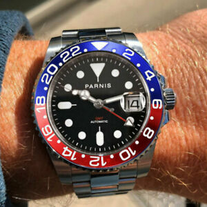 40mm-PARNIS-black-dial-Pepsi-bezel-Sapphire-Glass-GMT-Date-automatic-men-039-s-watch