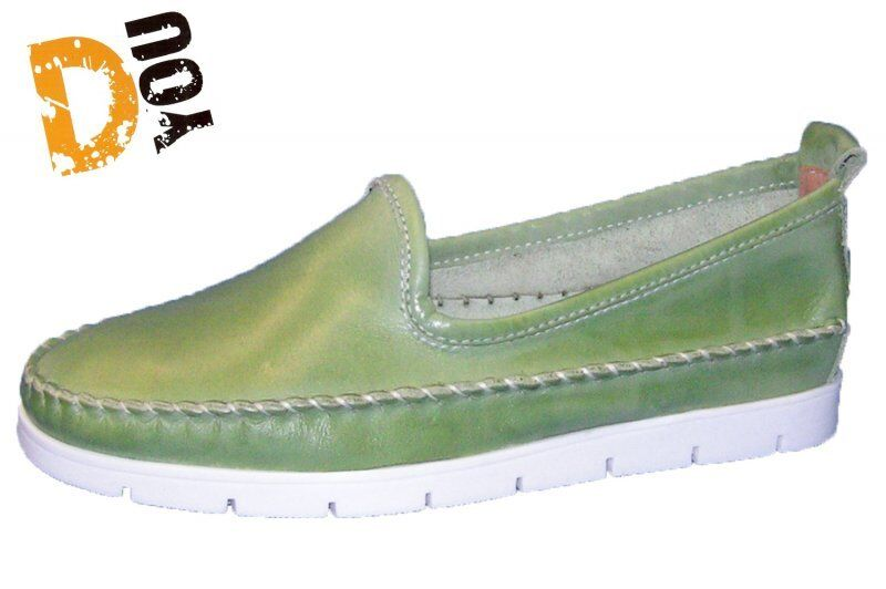 Dyou Slipper weiss blau grün Größe 38  40 41 echtes Leder Dessy 46585 Schlüpf