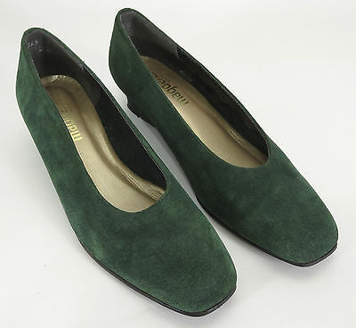Magdesians Heel 8 Green Suede Heels Square Toe Flats Low Slip On Holiday Shoes