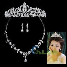 Fashion Jewelry Rhinestone Bridal Wedding Wear Crown Tiara Necklace Earring Sets