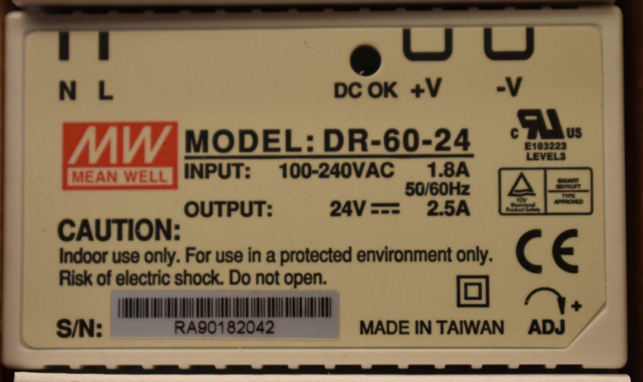 DIN-rail 15 V//DC 4 a 60 W Mean Well DR-60-15 DIN Rail Power Supply