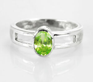 925-Sterling-Silver-Ring-Green-Peridot-Natural-Bezel-Solitaire-Size-4-11