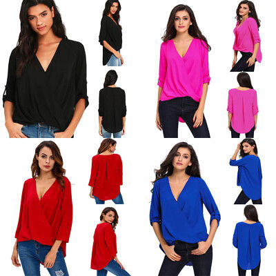 Women V Neck Ruffle Loose Fit Tops 3/4 Sleeve Office Casual Chiffon Blouse Shirt