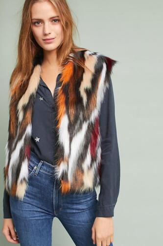 Anthropologie Vivid Faux Fur Vest  new S ~ Small