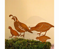 Rusty Metal Quail Family Bird Silhouettes Staked For Garden Use Set Of 4 Pcs