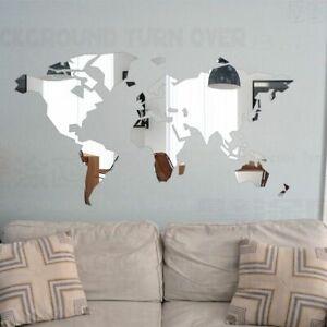 DIY Mirror Map Wall Sticker Room Decoration Bedroom Living room Self adhesive