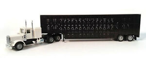 PETERBILT-SLEEPER-TRACTOR-TRUCK-CATTLE-TRAILER-PROMOTEX-1-87-Plastic-HO-Scale