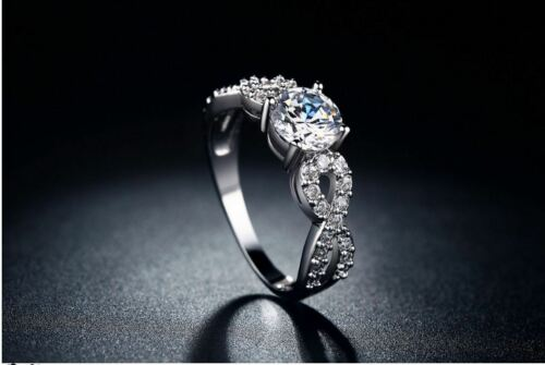 white gold plated AAA round cut cubic zirconia fake engagement wedding love ring