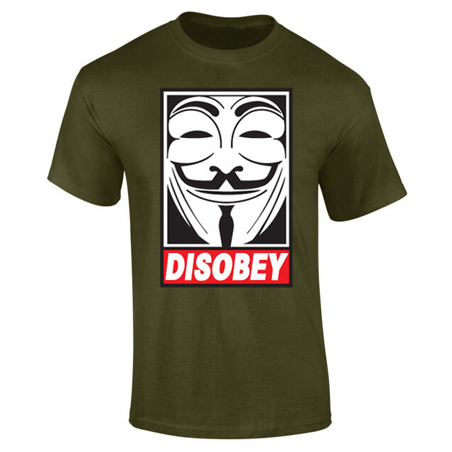 Mens Disobey Anonymous Mask Face T-shirt NEW S-XXL