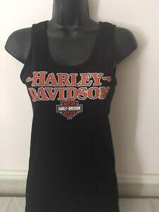 Harley-Davidson-Women-039-s-Tank-Top-Black-Ribbed-w-Orange-Graphics-XL
