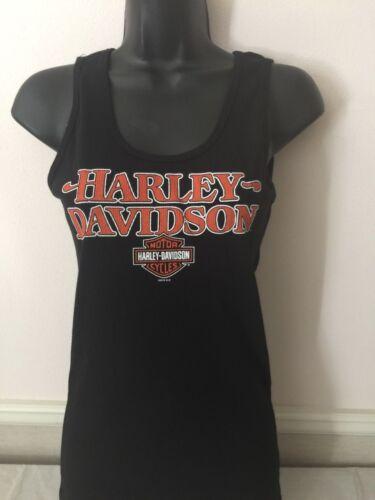 Harley-Davidson Women/'s Tank Top Black Ribbed w// Orange Graphics Small