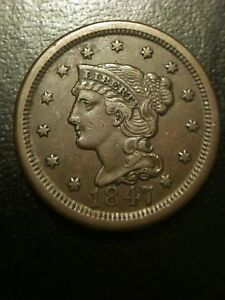 1847-Braided-Hair-Large-Cent-AU-About-Uncirculated-One-Penny-xf-Liberty-Variety