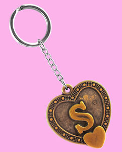 Details About K1103 Key Chains Stainless Steel Key Ring Letter S Love Heart Keyfob New Arrive