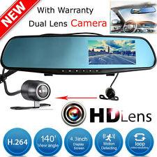 "4.3"" HD 1080P In-Car Rear View Mirror Dash DVR Recorder Dual Lens Camera Monitor"
