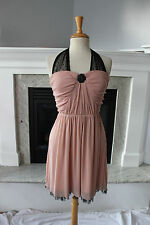 HOT TOPIC Semi Formal Dusty Pink & Black Tulle Halter Dress Juniors L  6 8