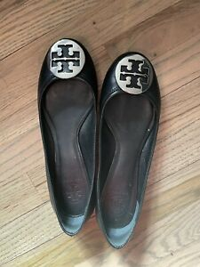 Tory Burch Reva Flat Black Silver Size 9 Leather Ballet Shoes Slip Ons