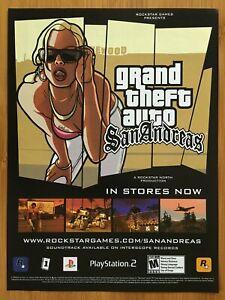 GTA Grand Theft Auto San Andreas PS2 2004 Print Ad/Poster Original Official Art