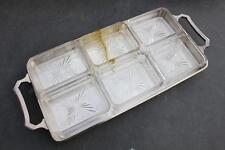 UNION CASTLE LINE ART DECO SILVER PLATE & CRYSTAL HORS D'OEUVRES COCKTAIL TRAY
