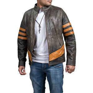 X-Men Wolverine Origins Biker Logan Brown Distressed Real Leather ... 88d4273f6aa8