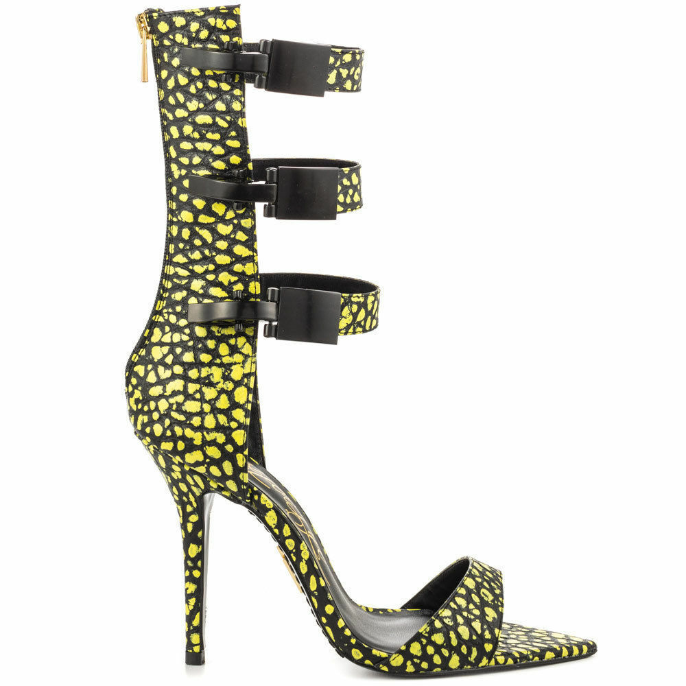 LUST FOR LIFE TRIBE SUPERLEMON YELLOW SEXY & BLACK SINGLE SOLE SEXY YELLOW 3 BUCKLE SANDALS a27e11