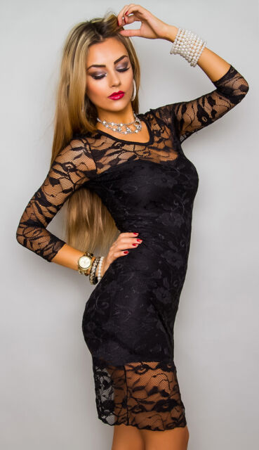 MADE BY FASHION/MODA ITALY Kleid Minikleid Abendkleid Spitze schwarz Gr. XS
