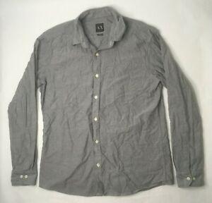Armani-Exchange-Mens-XL-Button-Front-Long-Sleeve-Gray-Shirt-U