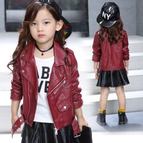 Kids Leather Jackets Motorcycle Jacket Cool Baby Girls Sport Biker Coats Outwear