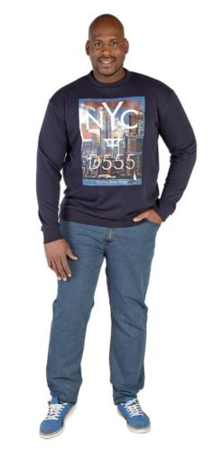BNWT D555 Mens Branded Printed Crew Neck Sweatshirt Big Size 3XL 4XL 5XL 6XL