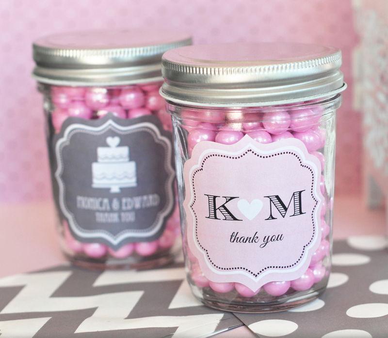96 Personalized Wedding Silhouette Mini Mason Jars Wedding Favor Candy Jars