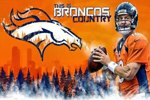 02d812c5 Details about NFL Denver Broncos Peyton Manning #18 This is Broncos Country  Poster Art Banner