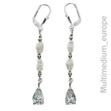 925er Sterling Silber Ohrringe Süßwasser Perle Zirkonia silver earrings pearl
