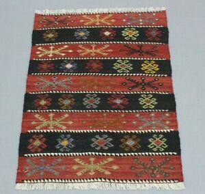 Turkish Hand Knotted Unique Carpet Cappadocia Ethnic Tribal Wool Kilim Rug 2x3ft