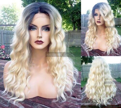 USA: Heat OK Ombre BLONDE Lace Front WAVY LONG Dark Roots Wig