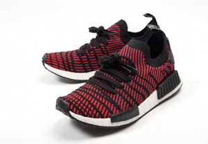 New Adidas NMD R1 PK STLT Red Solid   CQ2385   Men's Boost Primeknit Core Black