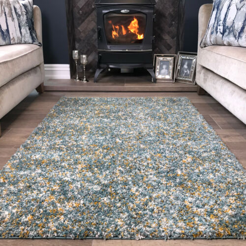 Thick Soft Duck Egg Blue Abstract Shaggy Rugs Non Shed Mottled Shaggy Area Rug