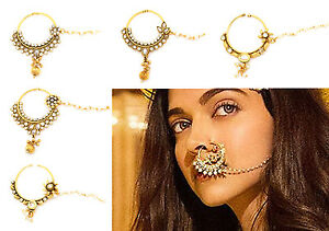 f82dfe6dba5 Details about INDIAN KUNDAN POLKI NATH NOSE RING CHAIN BRIDAL ASIAN  JEWELLERY BOLLYWOOD