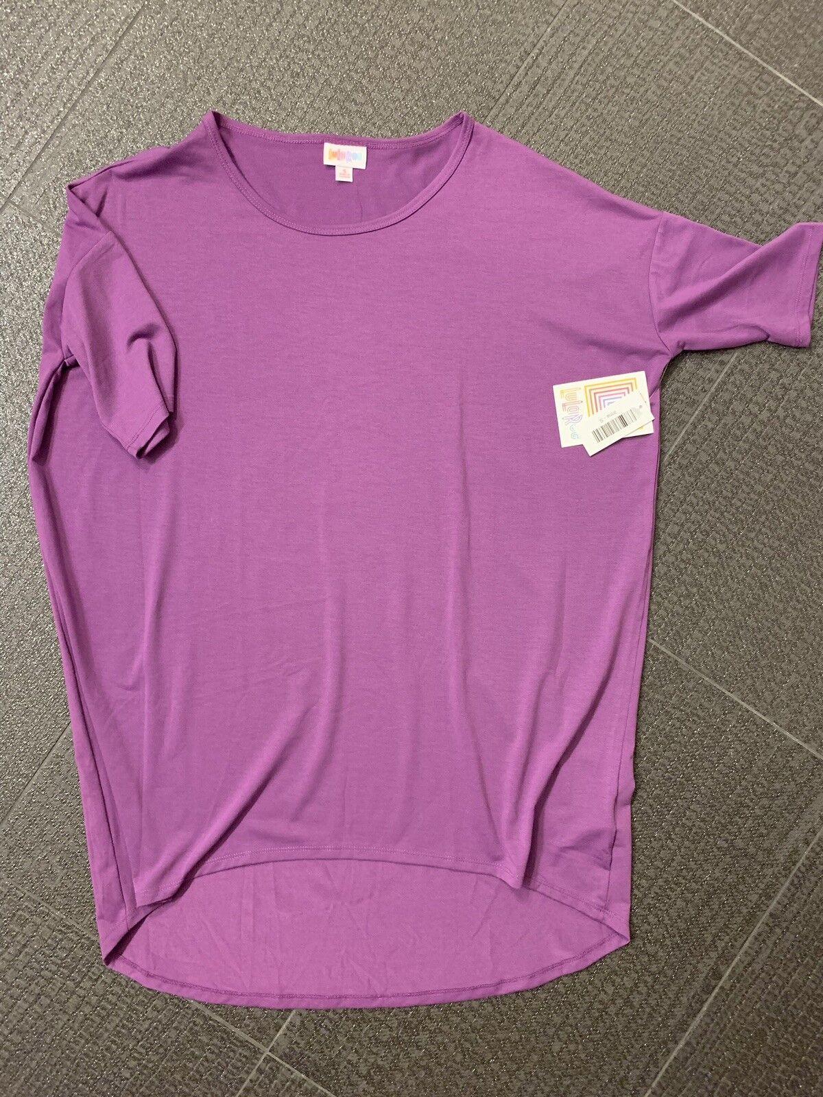 Lularoe LLR Irma Tunic Shirt Größe Small Solid lila Soft Stretchy Unicorn NWT