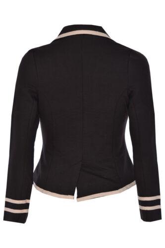 Donna Blazer Donna Militare Nautico Manica Lunga Pulsante Slim Giacca Cappotto Top